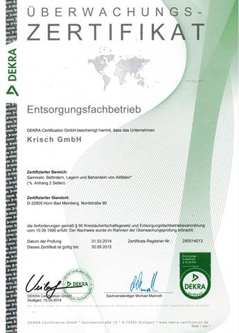 Überwachungszertifikat 2014