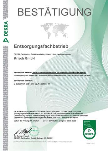 Metallhandel Krisch Überwachungszertifikat 2021